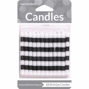 Black and White Striped Candles 72 ct