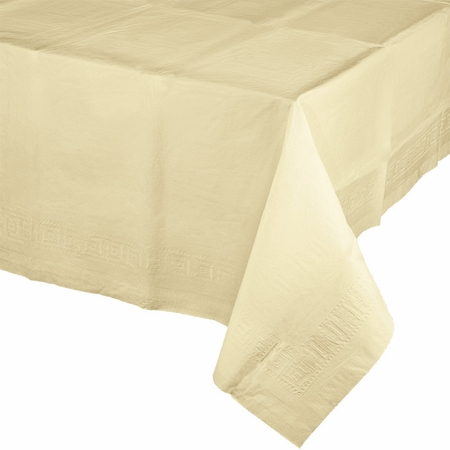 Touch of Color Ivory Paper Tablecloths in quantities of 1 / pkg, 6 pkgs / case