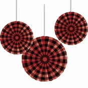 Buffalo Plaid Paper Fans 18 ct