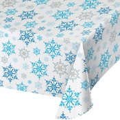 Snowflake Swirls Plastic Tablecloths 12 ct