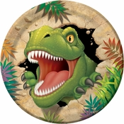 Green and tan Dino Blast Dinner Plates sold in quantities of 8 / pkg, 12 pkgs / case.