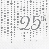 Silver 25th Anniversary Luncheon Napkins 192 ct