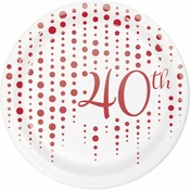 Ruby 40th Anniversary Dessert Plates 96 ct