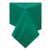 "Hunter Green Cellutex Square Paper Tablecloths measures 54"" x 54"" constructed of 2 ply tissue, 1 ply poly and sold in quantities of 1 / pkg, 50 pkgs / case"