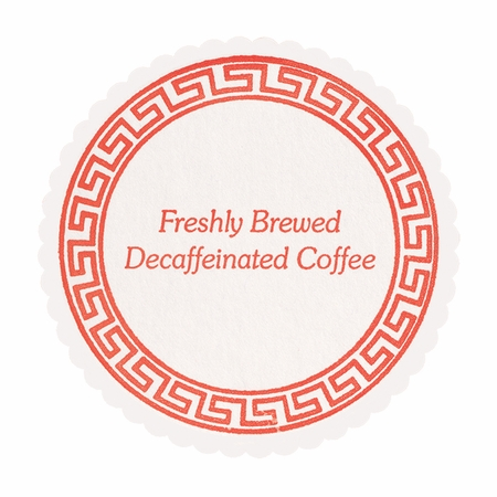 Red and white Decaf Coffee Coasters sold in quantities of 1000 / pkg, 1 pkg / case.