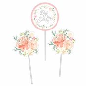 Country Floral Wedding Centerpieces Sticks 18 ct