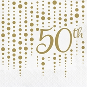 Gold 50th Anniversary Luncheon Napkins 192 ct