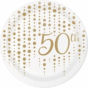 Gold 50th Anniversary Dessert Plates 96 ct