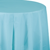 Touch of Color Pastel Blue Octy-Round Plastic Tablecloths in quantities of 1 / pkg, 12 pkgs / case