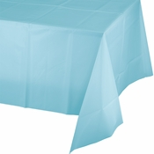 Touch of Color Pastel Blue Plastic Tablecloths in quantities of 1 / pkg, 12 pkgs / case
