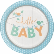 Hello Baby Boy Dinner Plates 96 ct