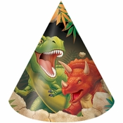 Green, orange and tan Dino Blast Hats sold in quantities of 8 / pkg, 6 pkgs / case.