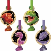 Green, red and purple Dino Blast Blowouts sold in quantities of 8 / pkg, 6 pkgs / case.