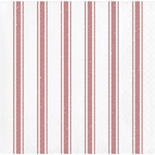 Red Ticking Stripe Beverage Napkins 192 ct