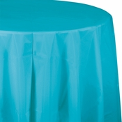 Touch of Color Bermuda Blue Octy-Round Plastic Tablecloths 12 ct in quantities of 1 / pkg, 12 pkgs / case