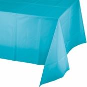 Touch of Color Bermuda Blue Plastic Tablecloths 12 ct in quantities of 1 / pkg, 12 pkgs / case