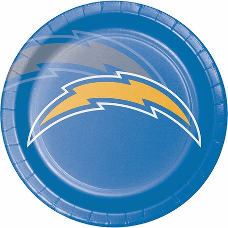 Blue, white and gold Los Angeles Chargers Dinner Plates sold in quantities of 8 / pkg, 12 pkgs / case