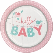 Hello Baby Girl Dinner Plates 96 ct