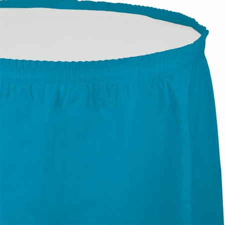 Touch of Color Turquoise Plastic Tableskirt in quantities of 1 / pkg, 6 pkgs / case