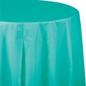 Teal Lagoon Octy-Round Plastic Tablecloths 12 ct