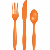 Touch of Color Sunkissed Orange Assorted Plastic Cutlery in quantities of 24 / pkg, 12 pkgs / case