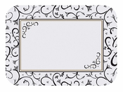 """White with fancy black and gold designed Scroll 14"""" x 18"""" Traymat is sold in quantities of 1,000 / pkg, 1 pkg / case"""