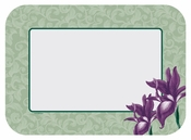 Green and purple Iris Scroll Nonskid Traymat is sold in quantities of 1,000 / pkg, 1 pkg / case