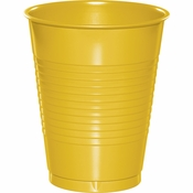 Touch of Color School Bus Yellow 16 oz Plastic Cups in quantities of 20 / pkg, 12 pkgs / case
