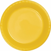 School Bus Yellow Premium Plastic Dessert Plates 600 ct
