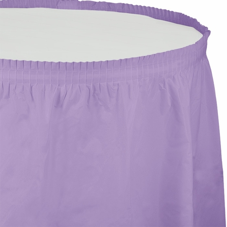 Touch of Color Luscious Lavender Plastic Tableskirt in quantities of 1 / pkg, 6 pkgs / case