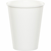 Touch of Color White 9 oz Hot & Cold Cups in quantities of 24 / pkg, 10 pkgs / case