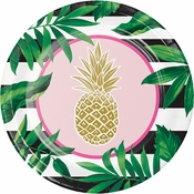 Golden Pineapple Paper Banquet Plates 96 ct