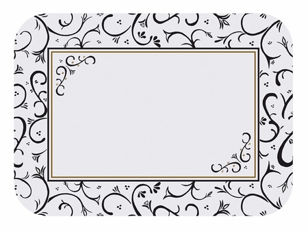 """Black and white Scroll 15"""" x 20"""" Traymat in quantities of 1,000 / pkg, 1 pkg / case"""