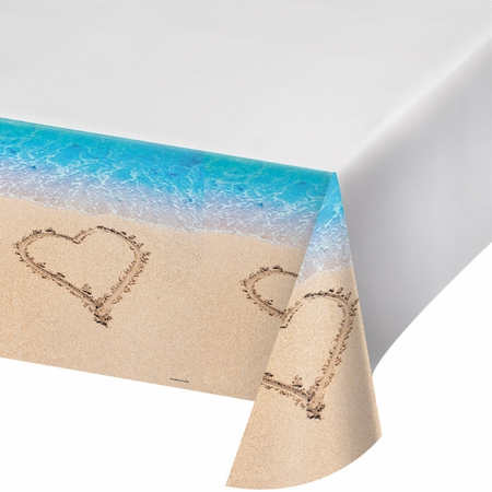 Blue and tan Beach Love Tablecloths sold in quantities of 1 / pkg, 6 pkgs / case