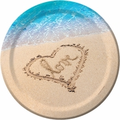 Blue and tan Beach Love Banquet Plates sold in quantities of 8 / pkg, 12 pkgs / case