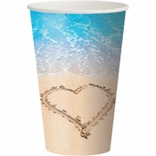 Blue and tan Beach Love 12 oz Cups sold in quantities of 8 / pkg, 12 pkgs / case