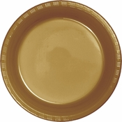 Touch of Color Glittering Gold Plastic Banquet Plates in quantities of 20 / pkg, 12 pkgs / case