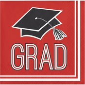 Graduation School Spirit Red Beverage Napkins