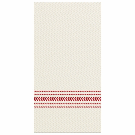 "8"" x 4"" FashnPoint White and Red Stripe Dinner Napkins 800 ct"