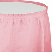Touch of Color Classic Pink Plastic Tableskirt in quantities of 1 / pkg, 6 pkgs / case
