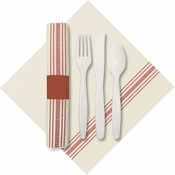 "8"" x 4"" Pre-rolled CaterWrap Red Ticking Stripe Dinner Napkins with EarthWise Cutlery 100 ct"
