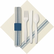 "8"" x 4"" Pre-rolled CaterWrap Blue Ticking Stripe Dinner Napkins with EarthWise Cutlery 100 ct"