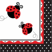 Red and black Ladybug Fancy Luncheon Napkins sold in quantities of 16 / pkg, 12 pkgs / case