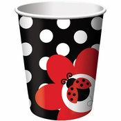 Red and black Ladybug Fancy 9 oz Cups sold in quantities of 8 / pkg, 12 pkgs / case
