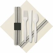 "8"" x 4"" Pre-rolled CaterWrap Black Ticking Stripe Dinner Napkins with EarthWise Cutlery 100 ct"