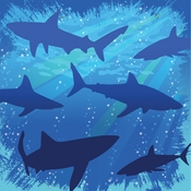 Blue Shark Splash Beverage Napkins sold in quantities of 16 / pkg, 12 pkgs / case