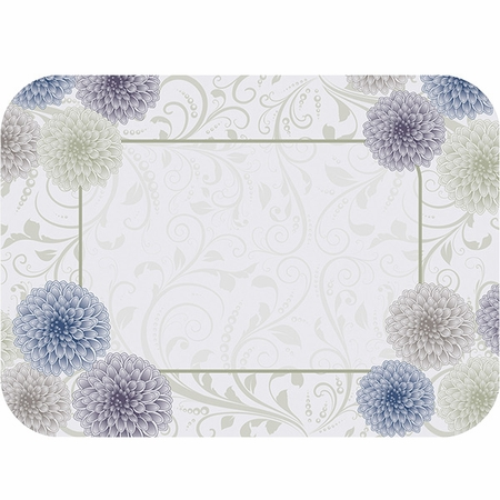 """Purple, blue and white Dahlia 15"""" x 20"""" Traymats sold in quantities of 1000 / pkg, 1 pkg / case."""