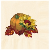 "5"" Fall Bounty Ecru Ivory Beverage Napkins 1000 ct"