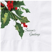 "5"" Holly Greetings White Beverage Napkins 1000 ct"