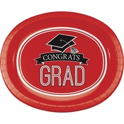 Graduation School Spirit Red Oval Plates